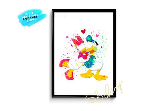 Daisy And Donald Duck Love Poster Watercolor Disney Poster