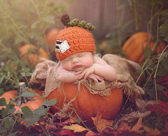 Newborn Chunky Pumpkin Hat  Photography Prop  by JazzCraftBoutique