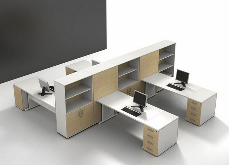 Home Design Spacious White Laminate Cubicle Office Furniture With Open Rack And Brown Cabinet Door Futuristic Modern Contemporary