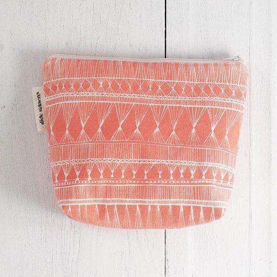 medium cotton zip pouch  Coral Market Weave by SlideSideways, $18.00