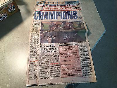 1992 Toronto Blue Jays STAR NEWSPAPER 10/25/92 World Series Champs