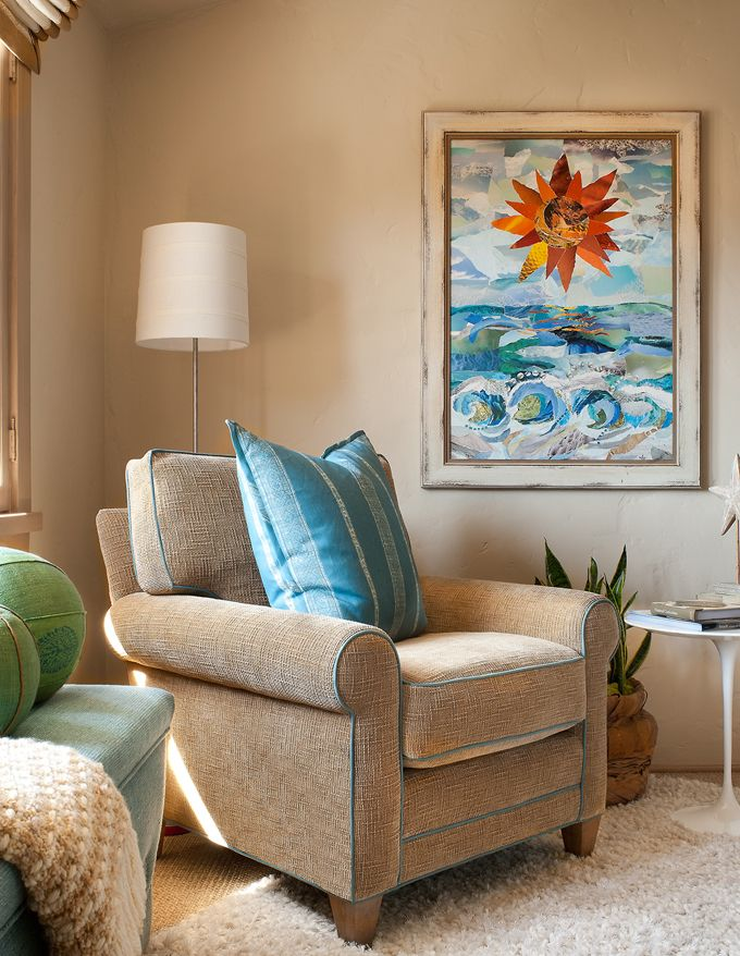 Turquoise and BeigeContemporary Bedroom, Beach House, Folk Art, Painting Art, Design Interiors, Interiors Design, Transitional Bedroom, Transitional Living Room, Debra Lynn