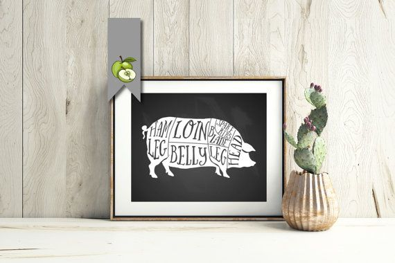Pig, pork, Butcher Diagram, chalkboard, kitchen Printable, Kitchen Print, Butcher Chart, Butcher Diagram, Butcher Prints, Cuts of Meat, BC3