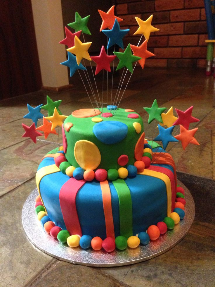 1st birthday cake- Colourful stripe and spot cake with stars