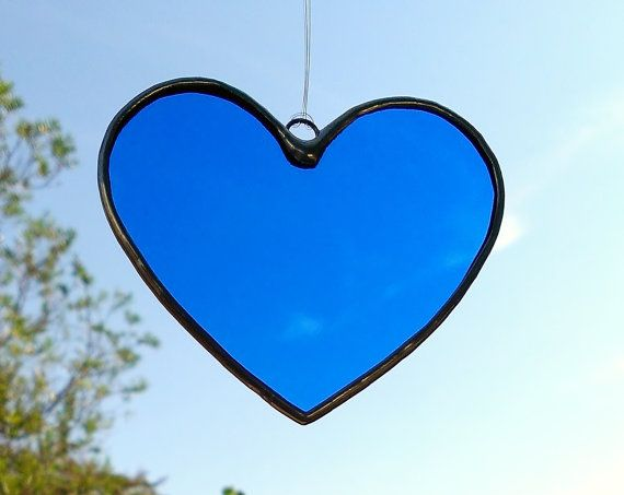 Ready to Ship Blue Heart Stained Glass Sun by JBsGlassHouse