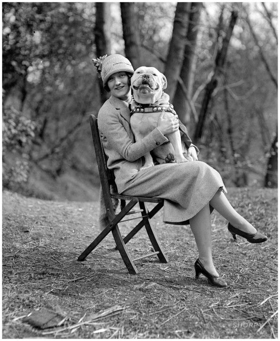 "April 14, 1925. Washington, D.C. ""Miss Mae Esterly with Sgt. Jiggs."" National Photo Company Collection"