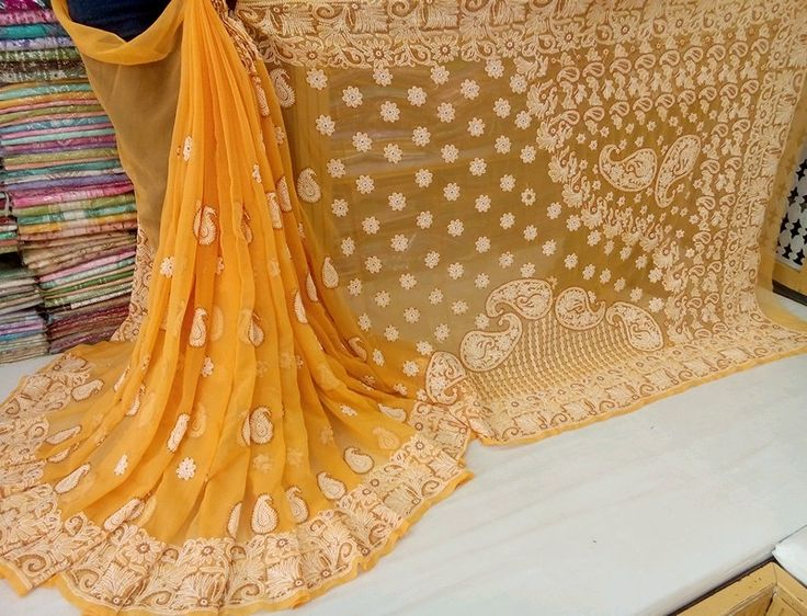 Lucknow Chikan hand embroidery chiffon Saree