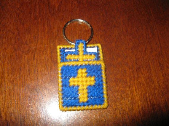Plastic Canvas Cross In My Pocket Keychain by FunksHomemadeCrafts