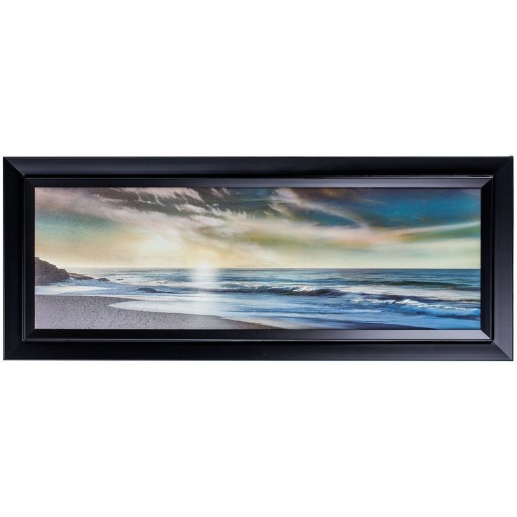 The Promise Framed Oceanside Beach Canvas Painting Print Wall Art Decor, Black (Wood)