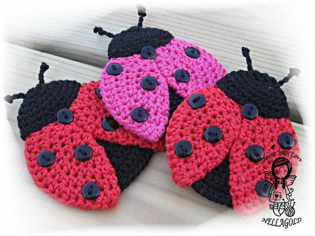 Crochet PATTERN, Applique Ladybug, Patch, Brooch