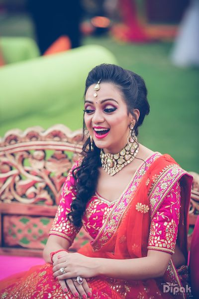 Bridal Portrait - Pink Gotta Patti Choli with Orange Net Dupatta | WedMeGood | Polki Choker Necklace #wedmegood #indianbride #indianwedding #polki #gottapatti #choker #bridalportrait #pink #orange
