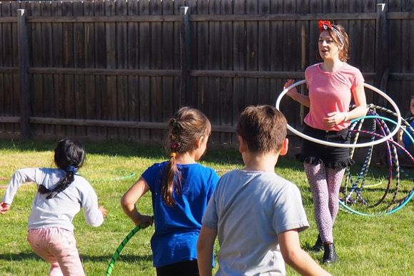 Get the party started with hula hooping fun and games!