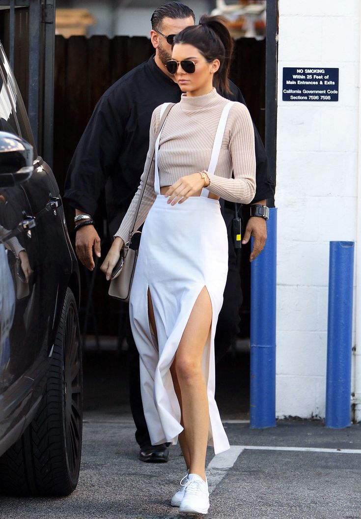 Kendall Jenner is street-style chic in cool tones, skirt-slips, and blush-hued turtle-necks.