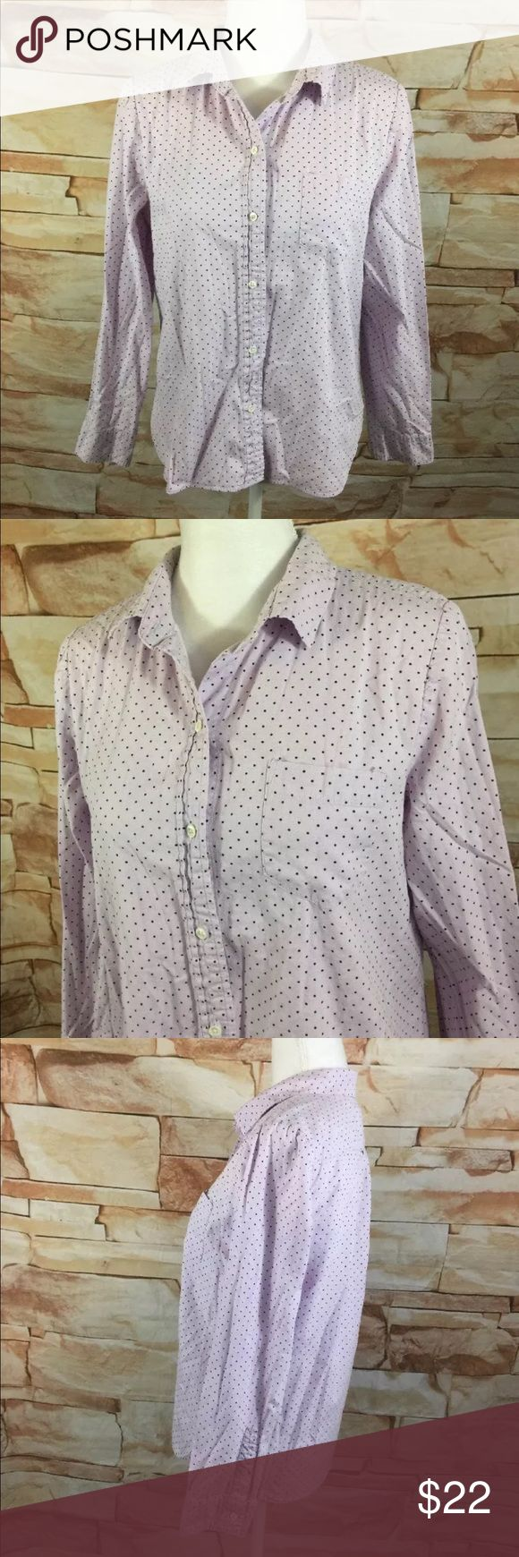 "J.Crew Shrunken Shirt in Dot Oxford J.Crew  Shrunken Shirt in Dot Oxford  Womens 10  Purple Polka Dot  Button Down Top  100% Cotton   Measurements Approximate: Shoulder to Shoulder - 15"" Armpit to Armpit - 20"" Sleeve Length -23"" Shirt Length - 25"" J. Crew Tops Button Down Shirts"