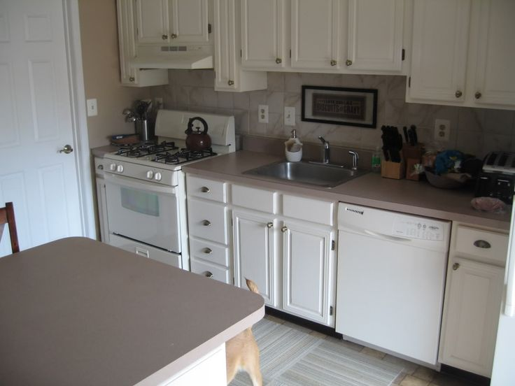 Excellent Small Kitchen Ideas Displaying White Finish Oak Wood Kitchen  Cabinets Which Has Round Brushed Nickel Part 89