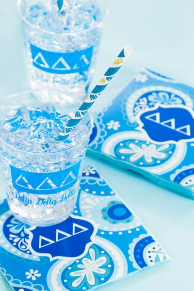 My Paper Shop.com - Delta Delta Delta sorority party supplies are a tasteful choice for hosting social gatherings and fundraisers. This Tri Delta theme collection features the Delta Delta Delta Greek letters and printed name on paper beverage napkins, plastic glasses and paper party straws. You can coordinate this ensemble with our solid colored silver gray and white tableware supplies and decorations to complete your event setting. Our sorority party ensembles will add a personal touch and…