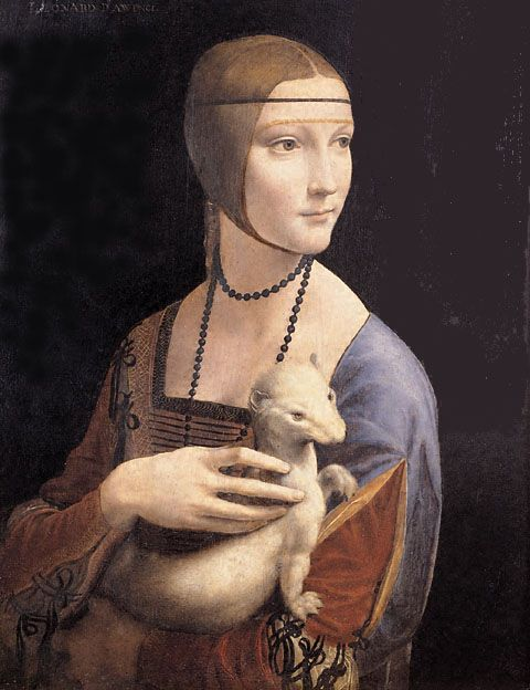 Leonardo da Vinci's- Lady with an Ermine  One of my favorites from the Krakow Museum