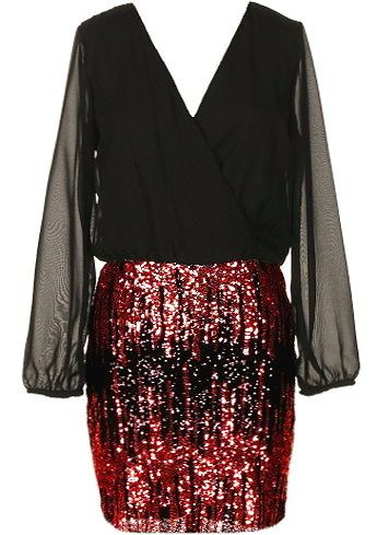 She Shines Dress: Features a fully lined chiffon upper portion framed by long, semi-sheer cuffed sleeves, easy elastic waist for a custom fit, and a festive red sequin skirt to finish.