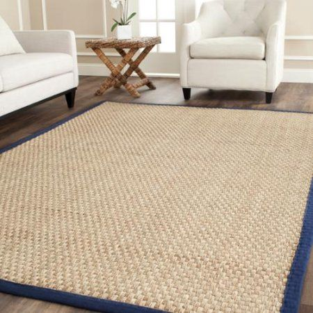 Woven from natural seagrass that adds a unique texture to your home, this rug is trimmed with a vivid blue color that brings to mind the ocean waves. This natural look and hand-woven design adds a rustic touch to your room, while the fringeless edges create a clean, elegant border that can also go well in modern, contemporary home styles. Available at Walmart.com.