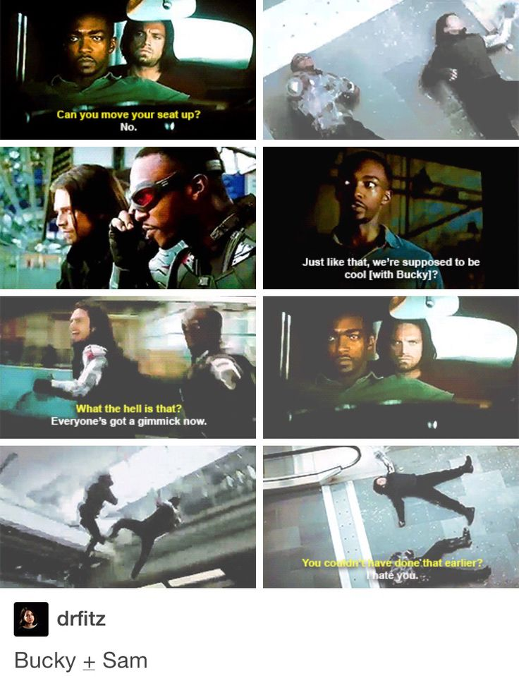 Sam and Bucky I JUST LOVE THEIR SASSY RELATIONSHIP BROTP
