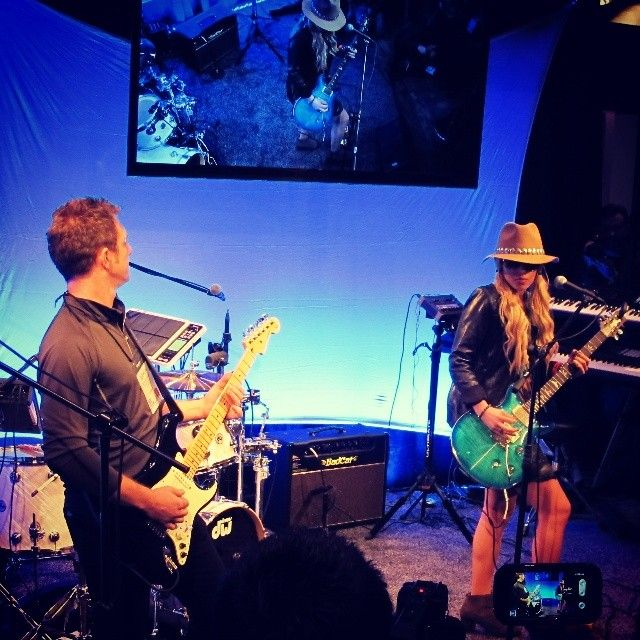 Orianthi performing at NAMM 2014 on the Roland/BOSS stage