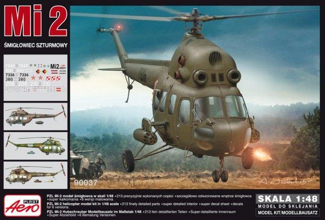 PZL Mi-2 Attack Helicopter. Aeroplast, 1/48, rebox 2013 (ex Aeroplast 2013 No.90035, updated / new parts), No.90037. Price: 27,13 EUR (marketplace). Decals: 1) Bulgarian Air Force, 208, Krumowo 1980s 2) Bulgarian Air Force, 210, Krumowo 1980s 3) East German Air Force, 380, HG34, Brandenburg-Briest 1975 4) Polish Air Force, 7340, 49 PSB, Pruszcz Gdanski 5) Polish Air Force, 3101, 49 PSB, Warsawa.