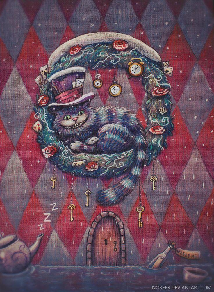 новый год, алиса, christmas, illustration, fantasy, волшебство, сказка, чеширский кот, открытка, чудеса