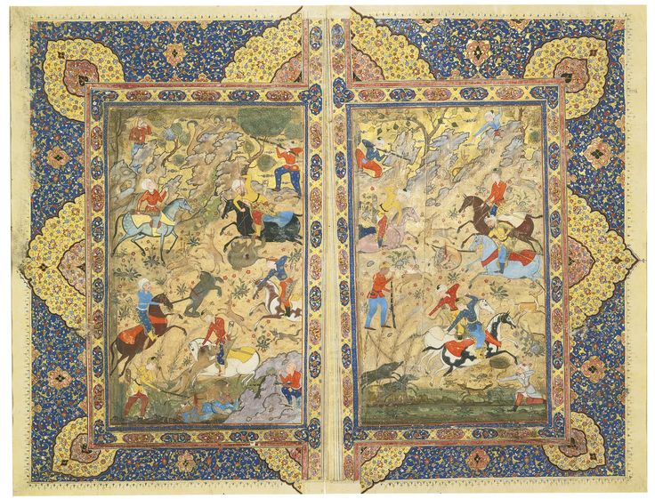 A Double-Page Miniature of Princes Hunting on Horseback, Persia, Safavid, Qazwin, late 16th century | lot | Sotheby's