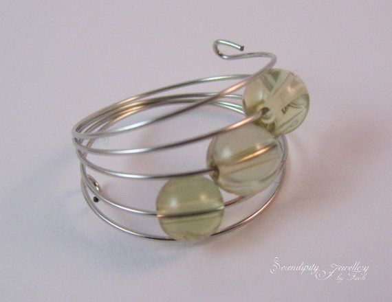 Yellow Quartz Silver Memory Wire Ring Yellow by SerendipityFinch