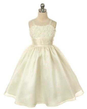 New Mesh Embroidered Organza Flower Girl Dress 2 to 12 Girls Choice of White, Ivory or Black