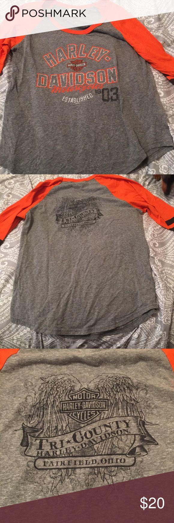 Harley Davidson t shirt from Cincinnati Harley Davidson t shirt from Cincinnati. 3 quarter sleeve. Harley-Davidson Tops Tees - Long Sleeve