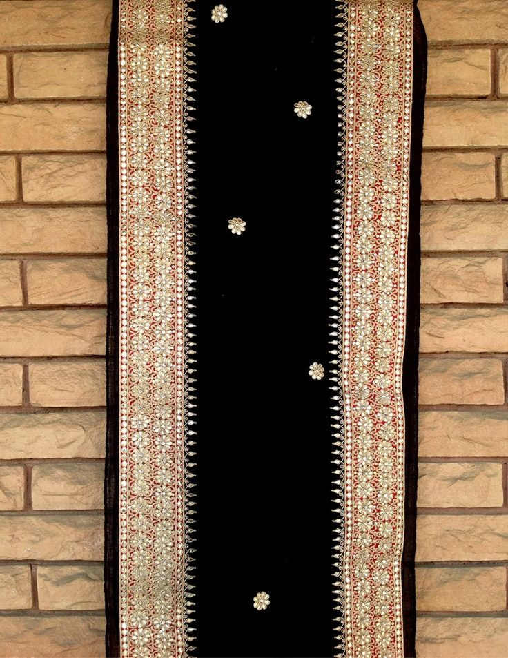 Black Ornate Gota Patti Border Shawl To order call 9958836354 Or write to us at hello@richadesigns.in