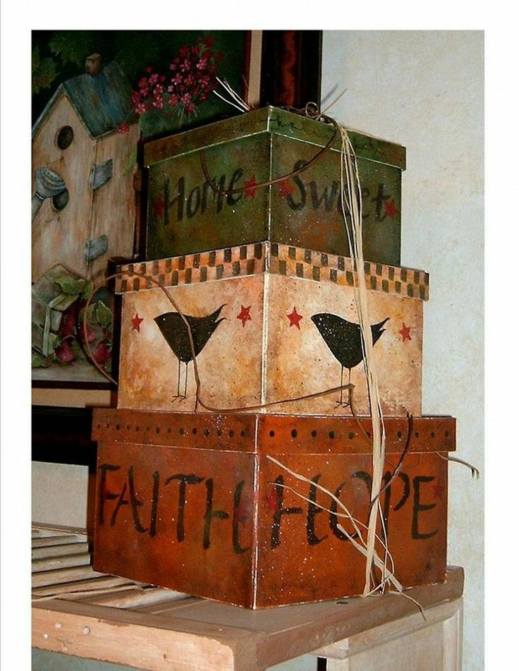 Paper Mache Boxes created using acrylic paint.