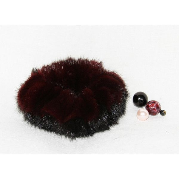 Real Fur Vinous Black Scrunchy (€18) ❤ liked on Polyvore featuring accessories, hair accessories, scrunchie hair accessories and long hair accessories