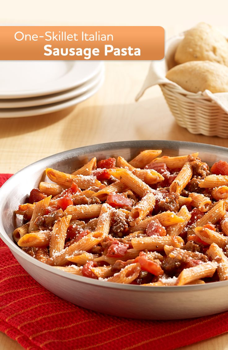 Even the pickiest eater will enjoy this easy recipe for One-Skillet Italian Sausage Pasta for dinner tonight.