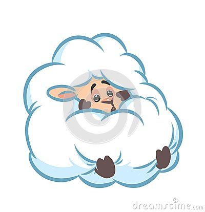 fluffy sheep hide fear cartoon illustration  isolated image