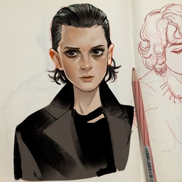 Process video of my latest Eleven art. This is how I usually digitally colour onto my sketchbook. I started doing this because my artblocks are more frequent when I have to draw straight onto the computer. Using the pencil again felt more natural and sketches came so much easier!! It's really fun and I recommend to try it out. My sketch is very loose for this one so I put more effort in the colouring lol , I drew it in between Overwatch competitive matches #strangerthings #process