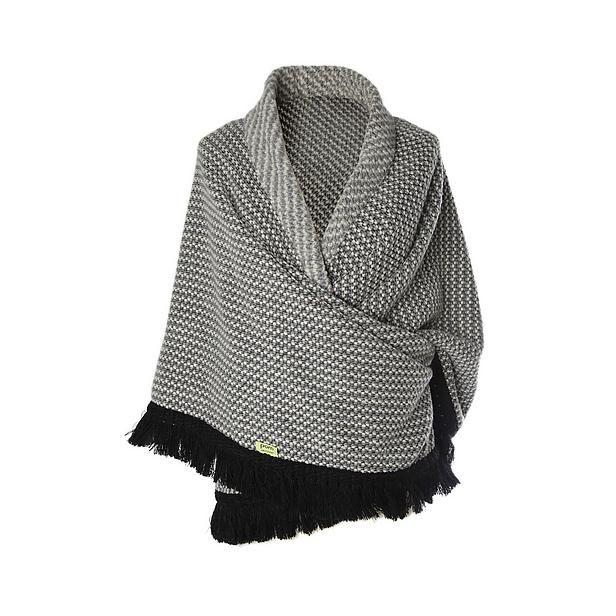 dure driehoekige omslagdoek - kan ik zelf maken in granietsteek, zwart/wit/grijs en zwarte franje.