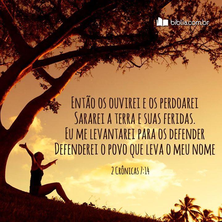 Então os ouvirei e os perdoarei. Sararei a terra e suas feridas. Eu me levantarei para os defender. Defenderei o povo que leva o Meu nome. #Jesus #proteção #amor #confia #Biblia