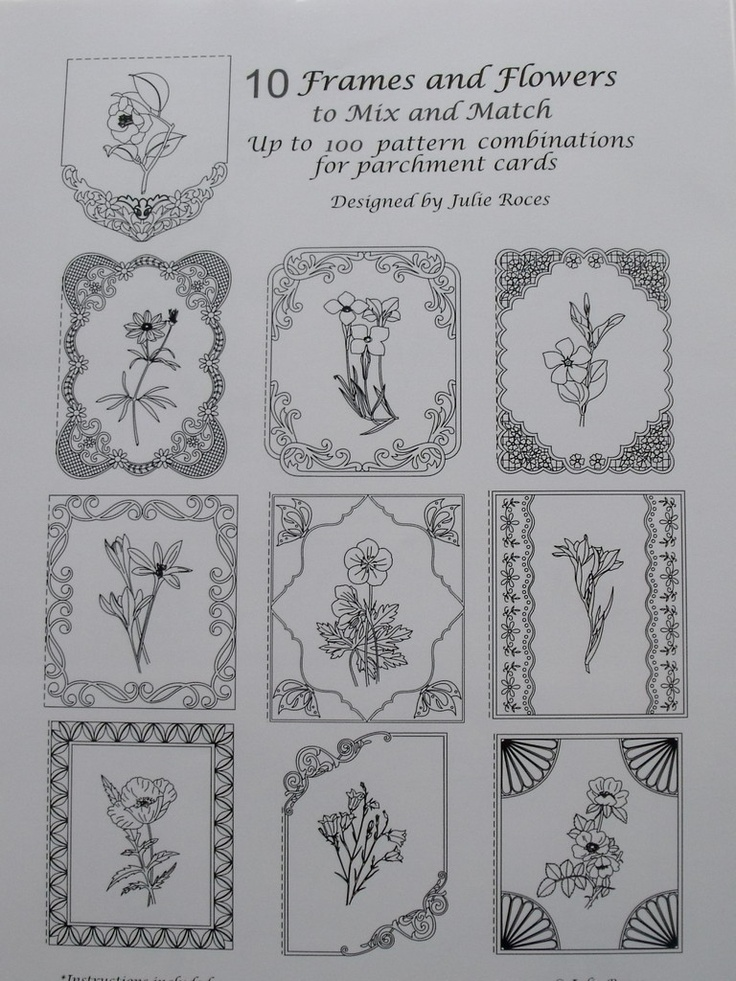 10 FRAMES AND FLOWERS TO MIX AND MATCH    A collection of 10 Frames and Flower motifs to mix and match to create your own unique designs. Instructions and possible combination sheets are included. 10sheets.