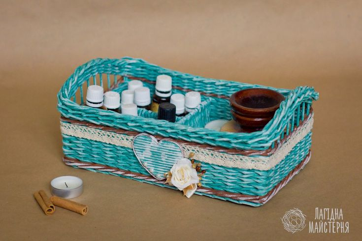 Бирюзовый короб с перегородкой (плетение из бумажной лозы, газет, бумажных трубочек, basket weaving, paper, craft, бирюза, бирюзовый, сердце, heart, shabby)