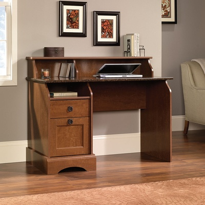 sauder graham hill desk autum maple finish two drawers feature patented tlock assembly system lower drawer with full extension slides holds lettersized