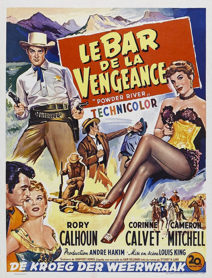 Powder River (1953) Stars: Rory Calhoun, Corinne Calvet, Cameron Mitchell, Penny Edwards, John Dehner ~ Director: Louis King (Belgian Poster)