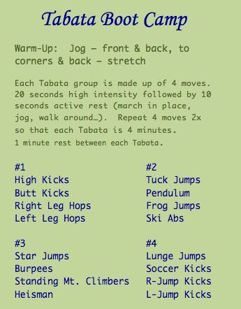 Tabata Boot Camp (Doing this one tonight) love finding new workouts