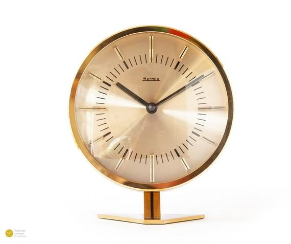 Atomic Age Hermle Brass Table Clock Mid Century Modern Bauhaus