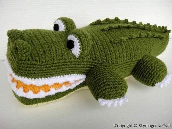 """65 ש""""ח להוראות מתורגמות לעברית (התשלום כולל תשלום לאתר ממנו נלקחים ההוראות) Crochet Pattern - ALLIGATOR."""
