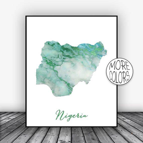 Nigeria Print, Travel Map, Nigeria Map Print, Travel Decor, Travel Prints, Living Room Wall Art Prints, Office Pictures, ArtPrintsZoe #TravelDecor #ArtPrintsZoe #OfficePictures #Nigeria #ArtPrint #TravelMap #TravelArtwork #TravelPrints #NigeriaPrint #LivingRoomWallArt