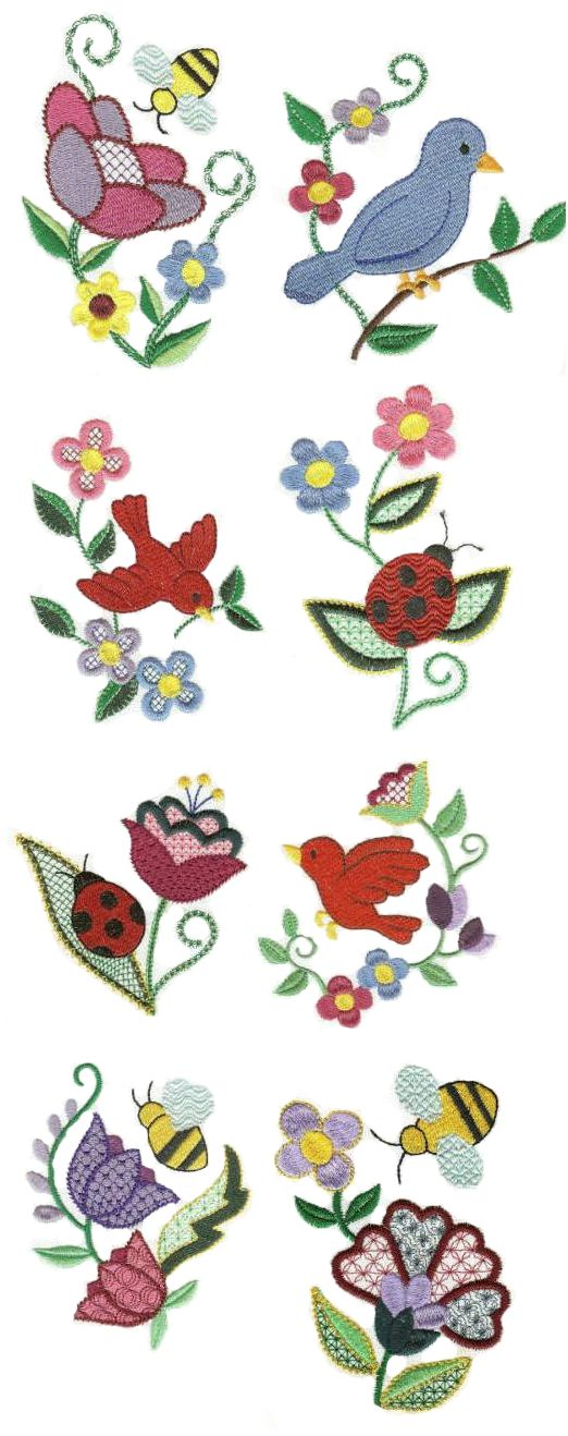 Springtime Jacobean embroidery design set available for instant download at designsbyjuju.com