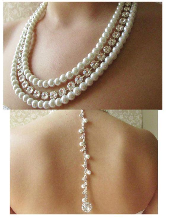 Backdrop Wedding Necklace Back Drop Necklace Chunky Pearl Necklace Pearl  Backdrop Wedding Necklace Graduated Pearl Necklace Layered Necklace