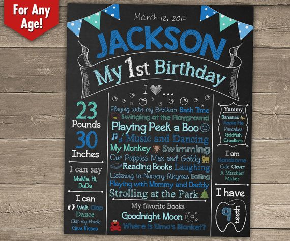 First Birthday Chalkboard Sign - 1st Birthday Chalkboard - Personalized and Printable Birthday Poster